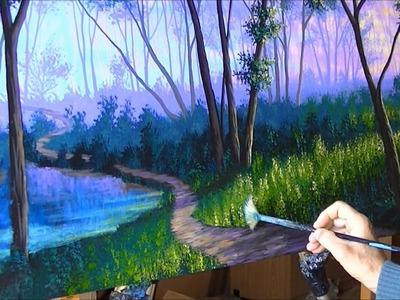 Como Pintar Bosque Niebla Atardecer 4.4 Camino Lago estanque