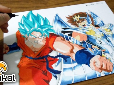 Drawing Goku SSGSS vs Seiya God Cloth | Dibujando a Goku vs. Seiya
