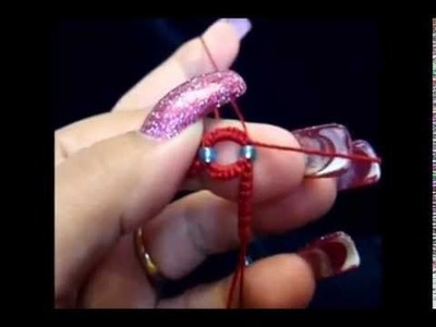 Frivolite tatting lesson 135 ONE bead btw TWO sr - una cuenta entre dos anillos divididos