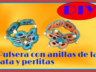 Pulsera de anillas de lata y perlitas parte2