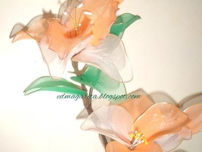 Tutorial: 01 Petalos Ondeados para Orquideas y Lirios de Nailon (Nylon)