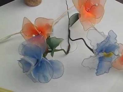 Tutorial botella texturada con flores de Naylon(Nylon) 01