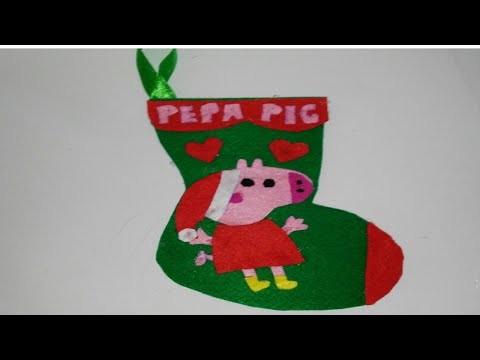 Botas de navidad de la  peppa pig adornos navideños tutorial manualidades DIY