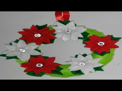 Corona navideña para puertas adornos navideños manualidades tutorial DIY