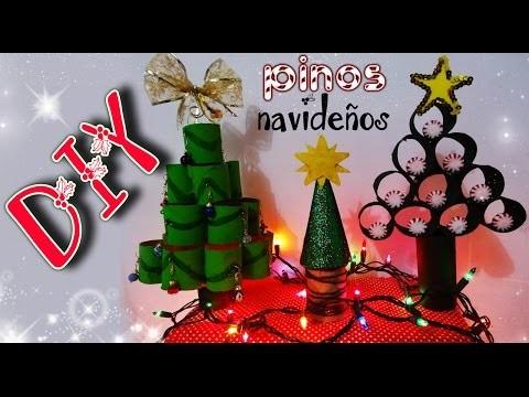 DIY ✄ 3 IDEAS FÁCILES DE PINOS NAVIDEÑOS (PORTA ARETES Y DULCERO) ¡RECICLADOS!