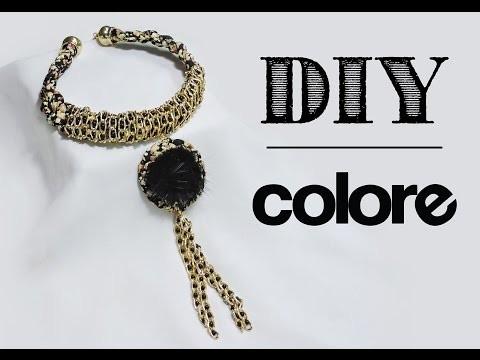 DIY Collar Tela Estampada y Pompon - Colore Accesorios