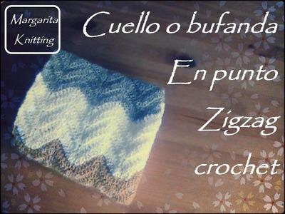 Cuello o bufanda de ganchillo con punto en zig zag (zurdo)