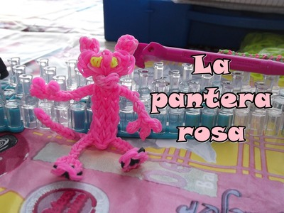 La pantera rosa de gomitas con telar. pink panther with rainbow loom