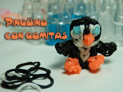 Pingüino con gomitas-Penguin Rainbow loom