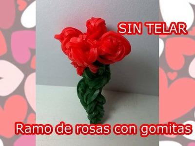 Ramo de rosas con gomitas SIN TELAR. Bouquet of Roses only hoock. Rainbow Loom