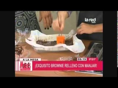 Receta: Brownies rellenos con manjar