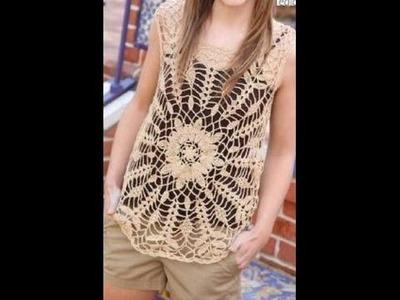 Blusa con Flor Grande Calado Perfecto a Crochet