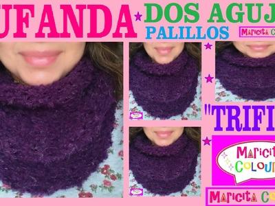 """Bufanda Infinita """"Trifina"""".Collar Dos Agujas Palillos  (Parte 2) Tutorial por Maricita Colours"""