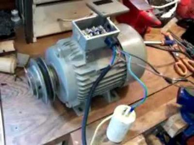 Cambiando de trifasico a monofasico, un motor electrico
