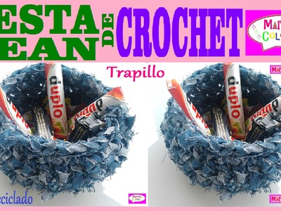 Cesta.Canasta de JEAN RECICLADO Tutorial Crochet.Trapillo  (Parte 1)  Por Maricita Colours