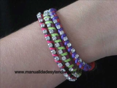 DIY pulsera de la amistad. Neon rhinestone friendship bracelet. Bracelet de l'amitié