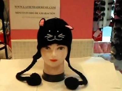 Gorro Coletas Gato Negro