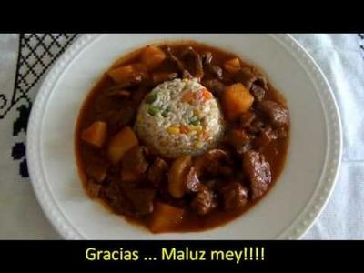 Bisteces con papas en salsa roja * video 51 *