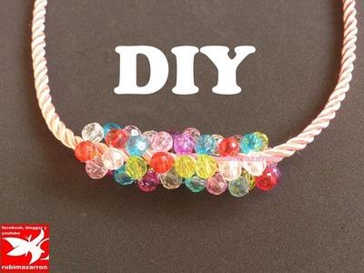 Collar de flores con abalorios de cristal   Necklace