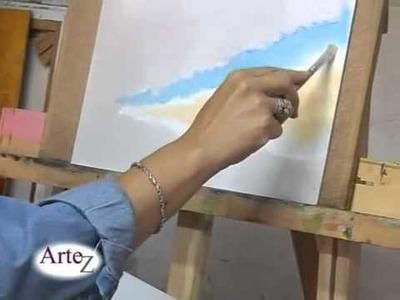 GABRIELA GALANO.Técnica para pintura al óleo.Cielo con nubes