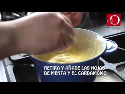 Gelatina de naranja con betábel receta del Chef Oropeza