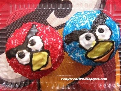 Angry Birds cupcakes. panquesitos de Angry Birds fácil y deliciosa receta - Ronycreativa