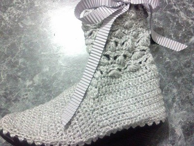 Bota tejida Crochet, ganchillo modelo Bianca parte 2