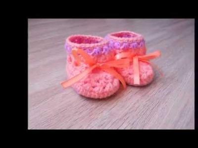 Escarpines a crochet para recien nacido