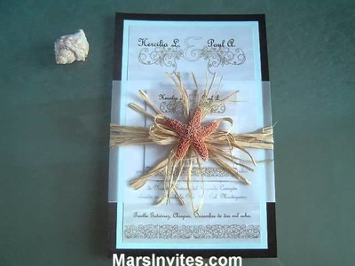Invitacion para boda en playa Ocean Beach Wedding Invitation