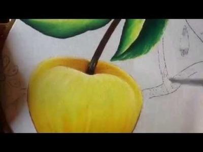 Pintura en tela manzana amarilla con cony