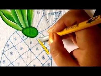 Pintura en tela piña con Cony
