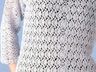 Suéter Abanicos tejido a Crochet