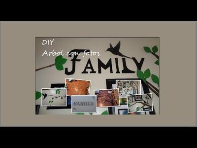 Árbol de fotos Manualidades:  Árbol con fotos a la pared hecho de cartón