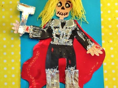 DIY Decora esqueleto papel Thor niño halloween ideas Dia de Muertos  decorated paper skeleton
