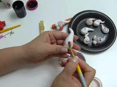 Paso a Paso  Carita de  fantasmas en porcelanicron para decorar manualidades