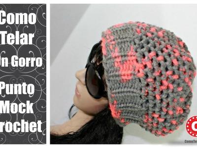 Como Telar un Gorro con Punto Mock Crochet en Telar Redondo Circular