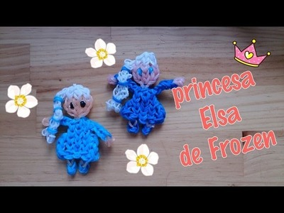 Princesa Elsa de gomitas con telar.Elsa of Frozen on rainbow loom