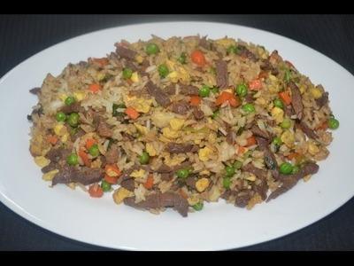 Arroz frito chino con carne - Cantones
