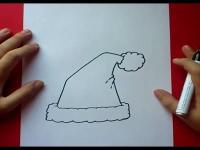 Como dibujar un gorro de papa noel paso a paso 2 | How to draw a santa claus hat 2