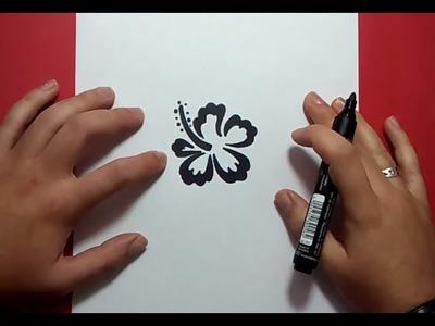 Como dibujar una flor paso a paso 14   How to draw a flower 14