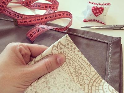 Cómo hacer la esquina de un mantel. How to sew a tablecloth corner hem