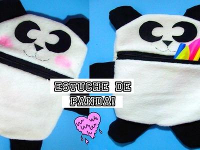 DIY➢ Estuche.Cartuchera de oso Panda ✄costura a mano
