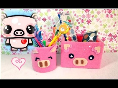ORGANIZADOR PARA TU ESCRITORIO.tubo de papel y cajita.PIG PENCIL HOLDER