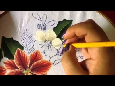 Pintura en tela flores blancas del oso # 3 con cony