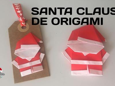 Santa Claus de Origami y Tags Navideños