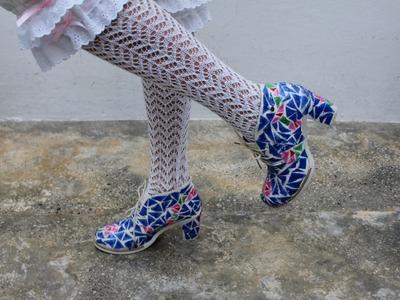 Zapatos para un traje de valenciana con material reciclado Fallas  Valencia #ecofallera