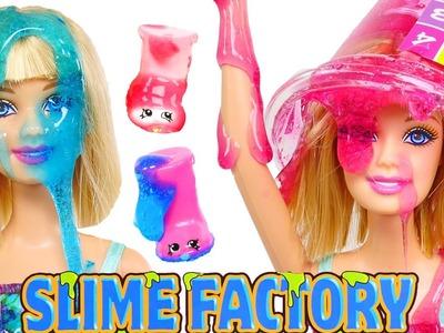 Barbie y Shopkins ❀ Fabrica de SLIME Experimento DIY Como Crear Slime + Brillos