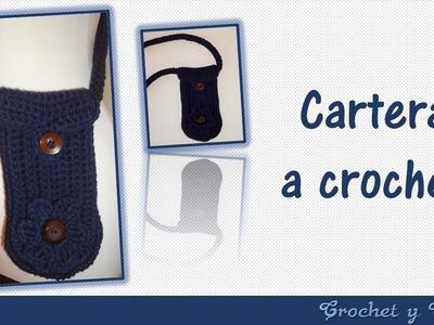 Carterita con flor y botón tejida a crochet (ganchillo)