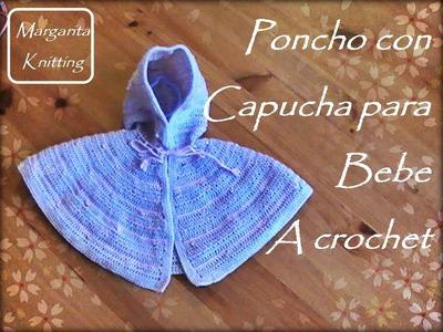 Como tejer a crochet un poncho con capucha para bebe(diestro)