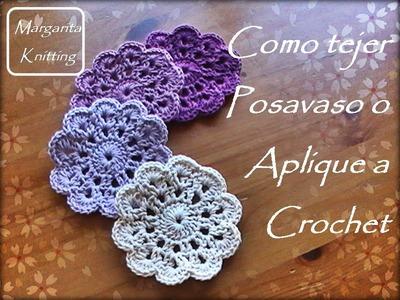 Como tejer posavasos o aplique a crochet (diestro)